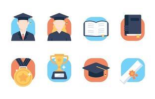 platt ikonuppsättning av examen