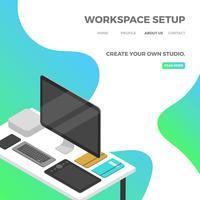 Flaches isometrisches Arbeitsplatz-Setup mit grüner Steigungs-Hintergrund-Vektor-Illustration