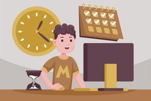 erfolgreicher Mann in der Kontrolle über Aufgaben und Zeit. vektor