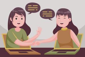 Geschäftsfrau machen Geschäft auf Distanz, indem sie Laptop-Bildschirmen praktisch die Hand schüttelt. vektor