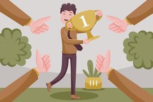 Geschäftsmann feiert mit Trophäenpreis für Erfolg im Geschäft. vektor
