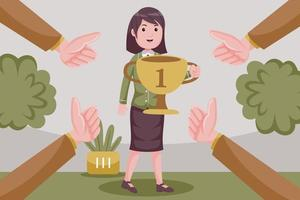 Geschäftsfrau feiert mit Trophäenpreis für Geschäftserfolg. vektor