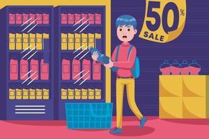 junger Mann, der mit leerem Korb am Supermarkt geht vektor