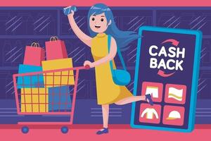 glückliche junge Frau bekommt Cashback-Promotion im Supermarkt vektor