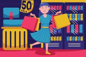 glückliche junge Frau, die im Supermarkt einkauft vektor