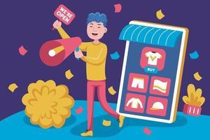 junger Mann fördert offenen Laden auf Online-Marktplatz vektor