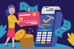 ung kvinna som gör kontantlös betalning vektor