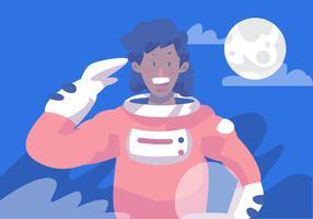 Frauen von Farbe Astronaut vektor