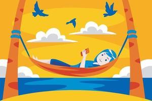 Frau, die in der Hängematte am tropischen Strand entspannt. vektor