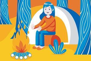 Frau warm in der Nähe von Lagerfeuer im Wald. vektor