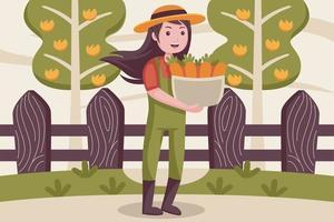 glückliche Bäuerin bringt Karotten in den Korb. vektor