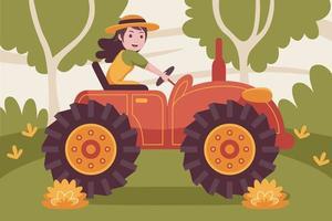 glücklicher weiblicher Landwirt, der Traktor am Garten fährt. vektor