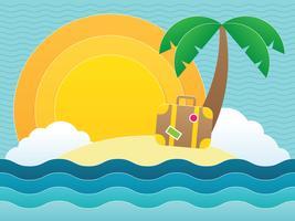 Sommer Strand Papercraft vektor