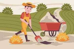 Mann Bauer gräbt den Boden für das Pflanzen von Pflanzen. vektor