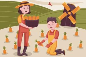 Glückspaar Bauer erntet Karotten auf kleiner Farm. vektor
