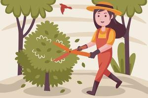 glücklicher weiblicher Bauer, der Pflanzen am Garten schneidet. vektor