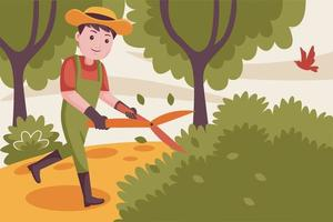 glücklicher Mann Bauer, der Pflanzen am Garten schneidet. vektor