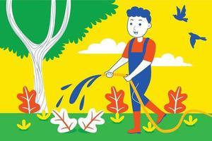 junger Mann spült Pflanzen im Garten. vektor