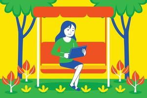 junge Frau, die mit digitalem Tablett am Garten spielt. vektor
