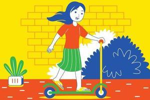 glückliche junge Frau, die auf Roller auf Straße spielt. vektor