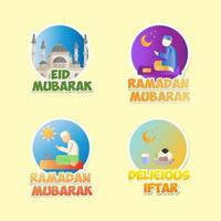 Ramadan Kareem Aufkleber Set vektor