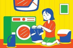 junge Frau, die Kleidung mit Waschmaschine wäscht. vektor