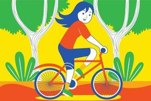 glad ung kvinna som cyklar i trädgården. vektor