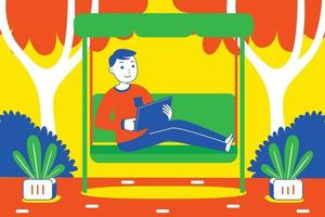 junger Mann, der digitales Tablett am Garten spielt. vektor
