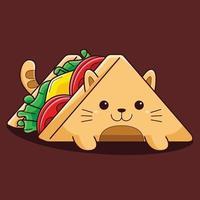 niedliche Sandwichkatzenillustration mit flachem Karikaturstil. vektor