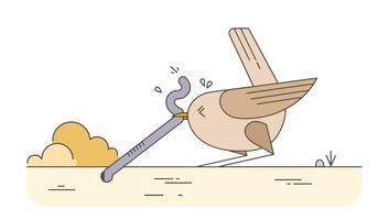 Vogel Wurm Vektor