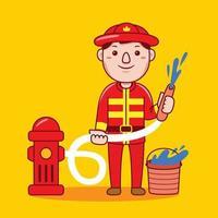 Mann Feuerwehrmann Beruf in flachen Design-Stil. vektor