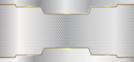 abstrakta silvermetallränder med guldlinjehuvud på vit bakgrunds lyxstil vektor