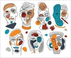 moderne abstrakte Gesichter. zeitgenössische weibliche Mann Silhouetten. Hand gezeichnete Umriss trendige Illustration. durchgehende Linie, minimalistisches Konzept. vektor