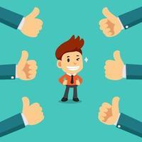 Vektorkarikatur glücklicher Geschäftsmann mit vielen Daumen hoch Händen vektor