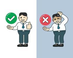 vektor tecknad affärsman uttrycker olika känslor