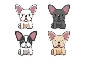 Satz von französischen Bulldoggen der Vektorzeichentrickfigur vektor