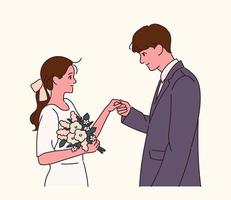 die Braut und der Bräutigam in Hochzeitskleidern. vektor