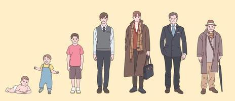 manliga karaktär steg efter ålder. vektor