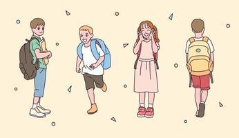 en uppsättning barnkaraktärer som bär en väska.