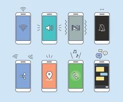 olika ikoner på telefonskärmen.