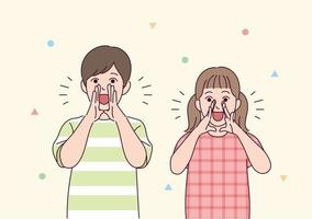 süße Kinder schreien mit ihren Händen zusammen. vektor