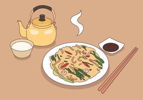 Ein Gericht aus Frühlingszwiebeln und Meeresfrüchten sowie ein traditioneller koreanischer Likör aus Reis. vektor