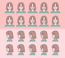 Satz von Gesichtmädchencharakteren mit verschiedenen Emotionsausdrücken. vektor
