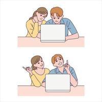 pojken och flickan tittar på den bärbara datorn och uttrycker att de vet något. vektor
