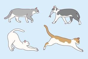 Sammlung von niedlichen Katzenfiguren. vektor