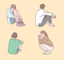 människor som sitter i olika poser. vektor