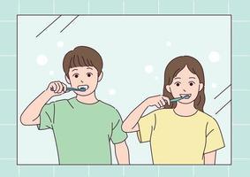 Ein Junge und ein Mädchen putzen sich die Zähne. vektor
