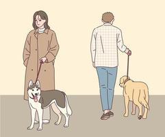 Ein Mann und eine Frau gehen mit einem Hund spazieren. vektor
