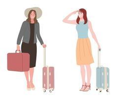 kvinnor med resväskor. vektor