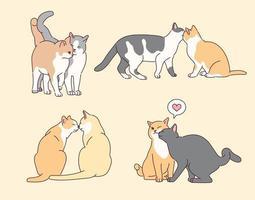samling av söta kattparfigurer. vektor